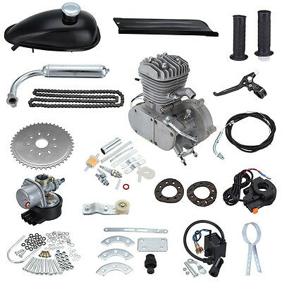 1.5L 80cc Push Bike Bicycle Motorized 2Stroke Cycle Silver Motor Silver Engine A