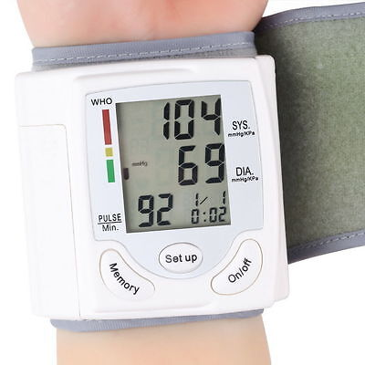 Digital LCD Wrist Pressure Monitor Blood Heart Beat Rate Pulse Meter Measure LO