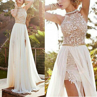 Women's Prom Gown Dress Chiffon+Lace Sleeveless Wedding Party Cocktail S-XL H23