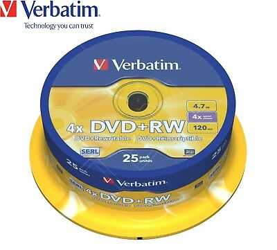 Verbatim DVD+RW 4.7GB 4x Speed 120min Rewritable DVD Disc Spindle Pack 25 (43489