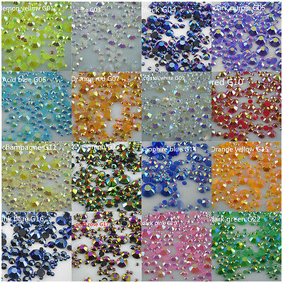 500pcs 2mm-6mm jelly AB crystal resin round rhinestones flatback mix size