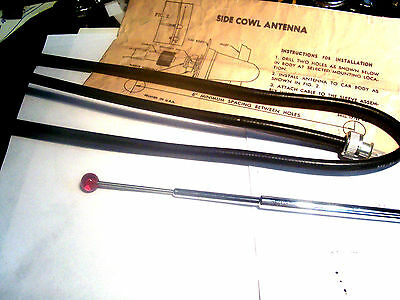 """1930's thru 1940's Side mount REDBALL tipped antenna with 36"""" LEADIN COAX  NEW"""