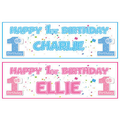 2 PERSONALISED HAPPY 1st BIRTHDAY BANNERS 3ft x 1ft - BOY OR GIRL - FIRST