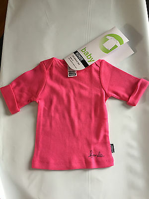 BNWT Baby Girls Sz 0 Bonds Brand Pretty Pink Organic Cotton 3/4 Sleeve Tee Top