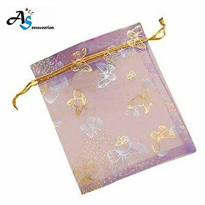 A&S Creavention® Golden Butterfly Edge Organza Drawstring Jewelry Pouches Bag