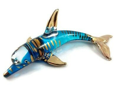 TINY CRYSTAL dolphin HAND BLOWN CLEAR GLASS ART FIGURINE ANIMALS COLLECTION GIFT