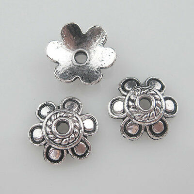 20Pcs Antiqued Silver 6-Leaf Flower End Bead Caps For Jewelry Craft DIY 11mm