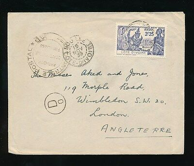 FRENCH WEST AFRICA IVORY COAST 1939 CENSOR D0 2F25 EXPO NY SINGLE FRANKING to GB