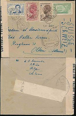 French West Africa Ivory Coast 1940 Censored D + Tape + Letter 4 Colour Franking