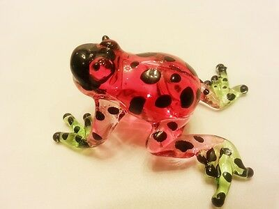 Rฺed Frog Figurine Art Animal Hand Blown Glass Miniature Collect Home Decor Gift