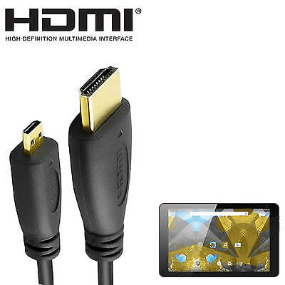 Alba 8 inch Android Tablet PC HDMI Micro to HDMI TV 2m Gold Cord Wire Lead Cable