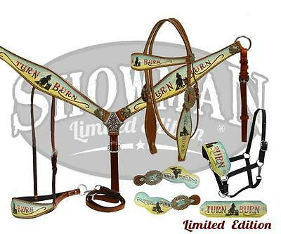 "Showman LIMITED EDITION 5 Piece ""Turn & Burn"" Headstall Breast Collar tack set!"