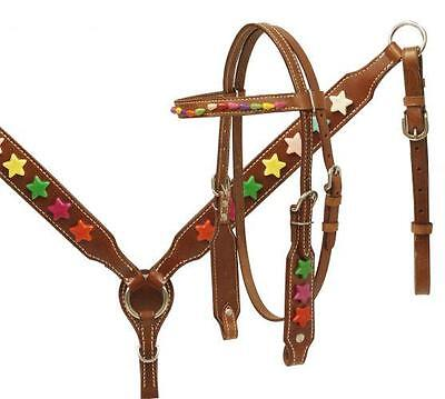 Showman PONY SIZE Headstall and Breast Collar Set with Multi Colored Star Beads!