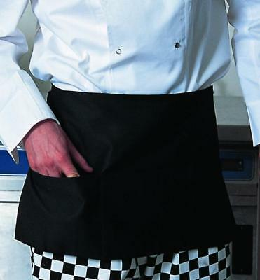 "1 NEW BLACK WAITER/ WAITRESS SERVER 3 POCKET WAIST APRON 12x22 MATCHING 36"" TIES"