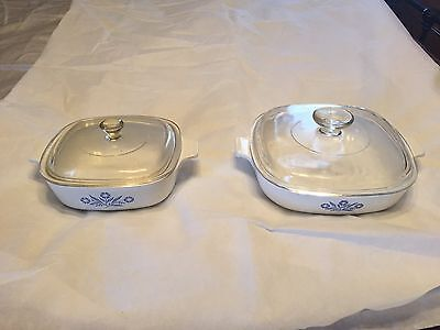 Corning Ware Blue Cornflower Bakeware, 2 pc. with lids  (used)