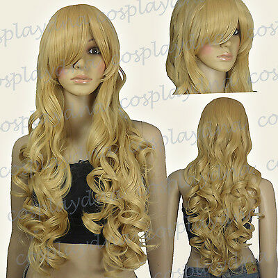 33 inch Hi_Temp Series Beige Blonde Curly wavy Long Cosplay DNA Wigs 96786