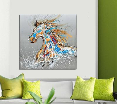 Large Modern Abstract Coloured Horse  Silver Wall Art Painting Painted Canvas