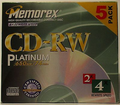New ~ Memorex CD-RW Platinum 5 Pack ~ 4x Rewrite Speed ~ 650MB / 74 Minutes