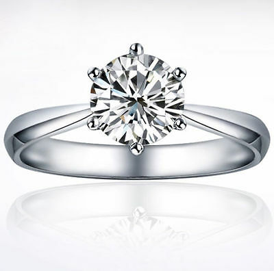 925 Sterling Silver White Gold Fill  Wedding Engagement Ring R181