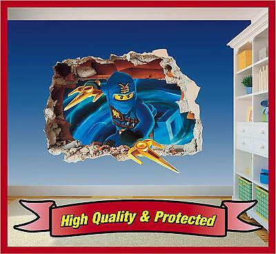 Lego Ninjago Jay Hole in Wall - Printed Vinyl Sticker Decal Childrens Bedroom