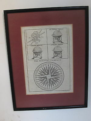 Antique Framed Engraving 18th C The Mariner's Compass