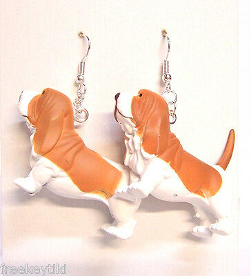 "NEW Basset Hound Dogs 1.5"" Hood Hounds Figures Dangle Earrings"
