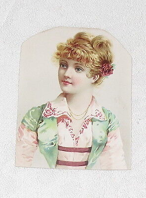 Trading Card Woman Red Hair Pink & Green Dress Vintage. WF CHASE