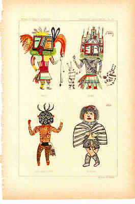 """Antique Prints - Hopi Kachinas - Late 1800's - ~7 x 11"""" - Select 1 from Group"""