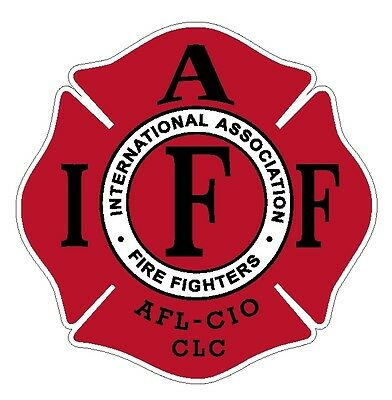"4"" IAFF Decal Red with Black Trim Exterior Mount Please Read Auction"