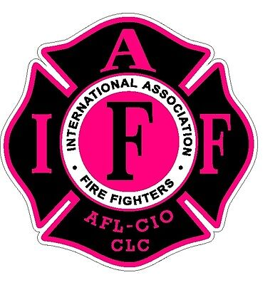 """4"""" IAFF Decal Black with Hot Pink Trim Exterior Mount Please Read Auction"""