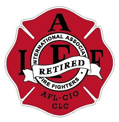 """4"""" IAFF Decal Retired Red with Black Trim Exterior Mount Please Read Auction"""