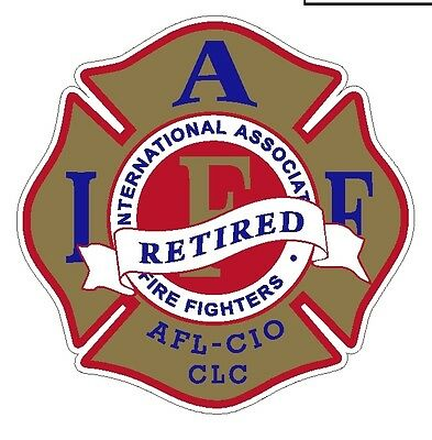 "4"" IAFF Decal Exterior Mount Gold Red and Blue Retired Please Read Auction"