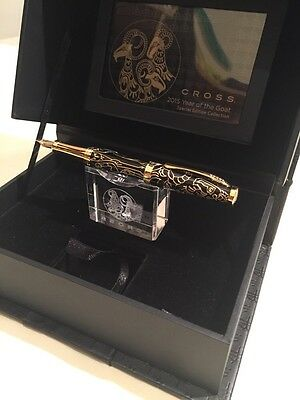 "CROSS ""YEAR OF THE GOAT"" GOLD & BLACK LACQUER FOUNTAIN PEN-18K M Nib-NOS"