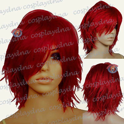 "16"" Hi_Temp Dark Red Hand Spikeable Shaggy Cut  Short  Cosplay DNA Wigs 64DDR"