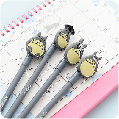4pcs Cute Anime My Neighbour Totoro Black Ink Gel Pen Stationery Kids Gift