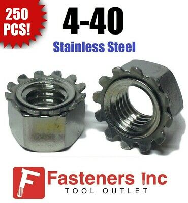 (Qty 250) 4-40 Kep Hex Star Lock Nuts Stainless Steel 18-8 / 304