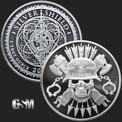 1 oz SILVER debt and death forever moto d+d .999 pure BU silver shield - INSTOCK