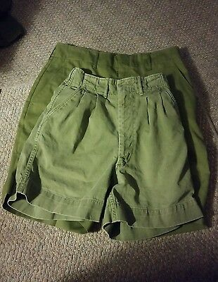 008 Lot of 2 Vintage Boy Scouts of America Uniform ShortS Olive Green