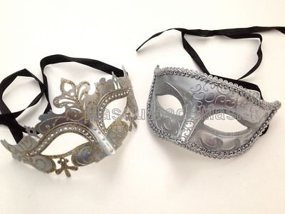 Gold Silver Mask pair Mardi Gras Carnival Masquerade birthday Prom dance Party