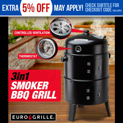 NEW Euro-Grille 3in1 Charcoal Smoker Portable - BBQ Grill Roaster Steel Steamer