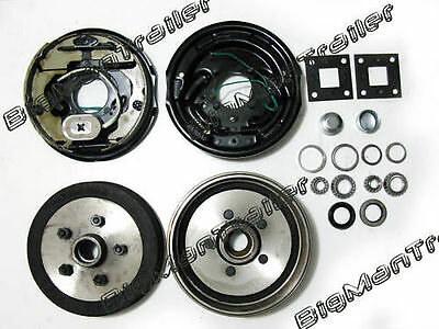"JCHE 10"" Electric Brake Kit Backing Plate Set Pair Drum Camper Trailer Part Axle"