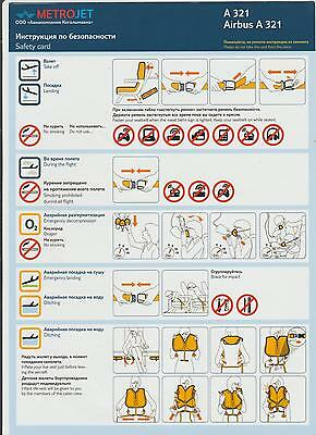 Safetycard METROJET A 321 Airbus A321, Russian airline