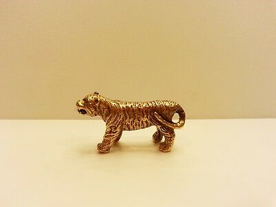 Brass Lucky Amulet TIGER FIGURINE Miniature Charm Vintage Collect Animal Statue