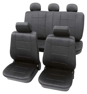 Luxury Leather Look Dark Grey Washable Seat Covers - VW  Caddy 2004 Onwards