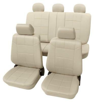 Beige Seat Covers with a Classy Leather Look - For Mercedes C-CLASS 2000 to 2007