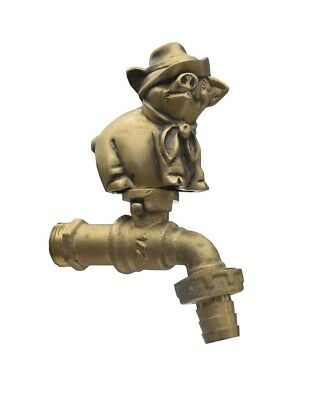 Brass Garden Tap Faucet PIG+HAT SPIGOT Vintage Yard Water Home Decor Outdoor