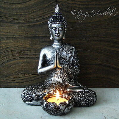 Thai BUDDHA CANDLE HOLDER Tea Light Holder Rustic Silver Effect MEDITATING 20cm