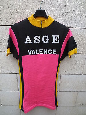 VINTAGE Maillot cycliste ASGE VALENCE cycling shirt jersey rose années 70 S