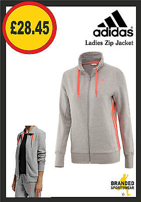Ladies/Womens Adidas Zip Jacket Sweat Warm Up Training Gym Top Grey/Orange NEW