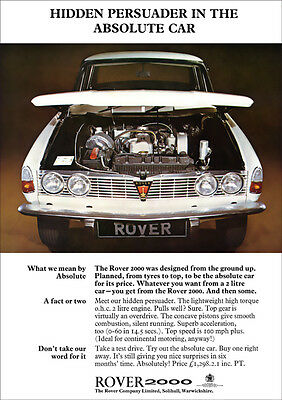 ROVER P6 2000 RETRO A3 POSTER PRINT FROM CLASSIC 60's ADVERT